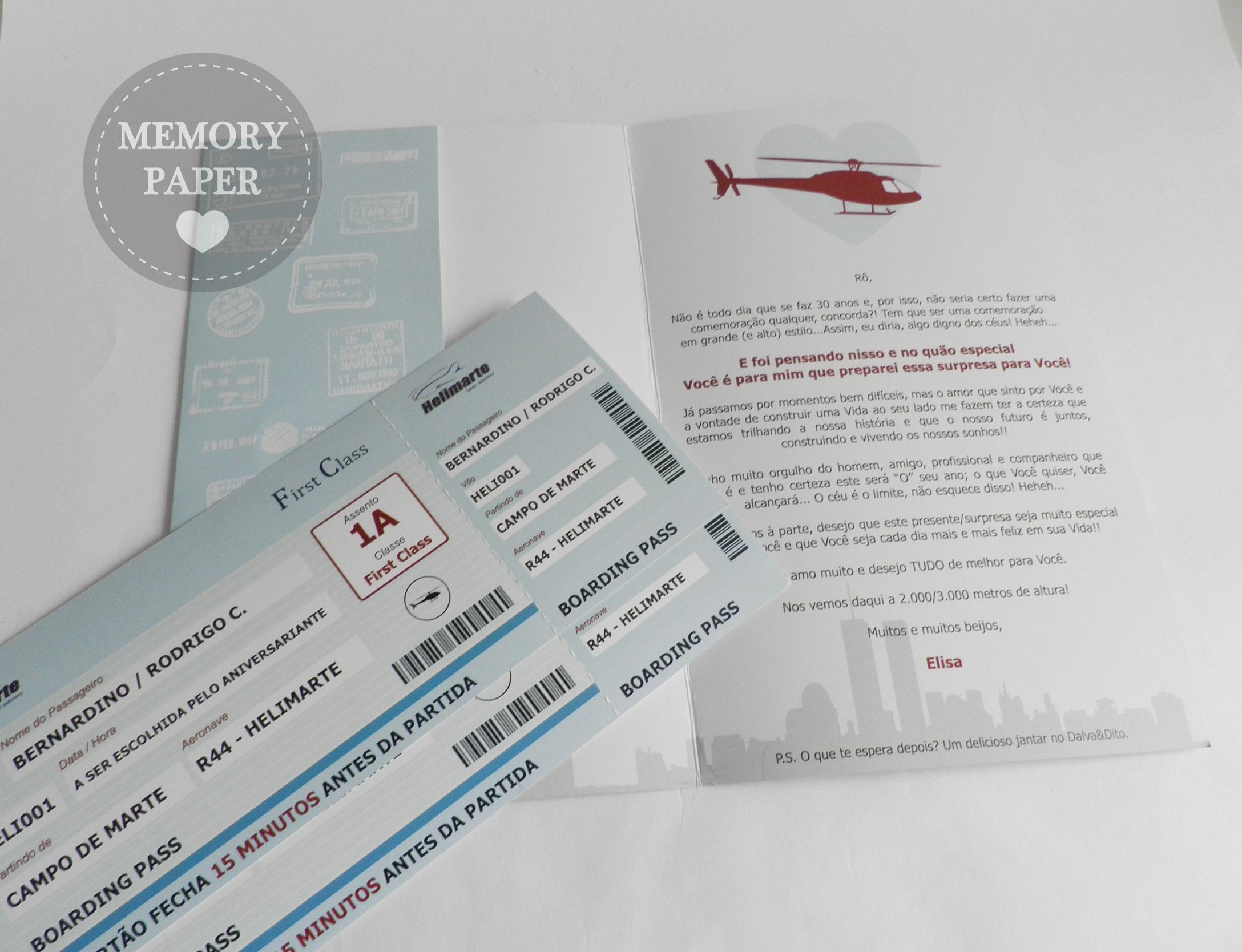 Convite Passaporte para passeio de helicóptero