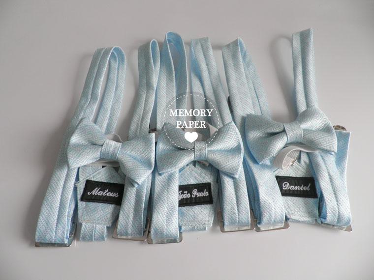 Kits infantis de gravatas borboletas e suspensórios para pajens de casamento